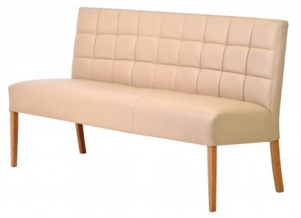 Casa Padrino Luxus Leder Sitzbank Beige / Braun 190 x 62 x H. 88 cm - Echtleder Möbel