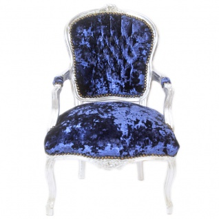 Casa Padrino Barock Salon Stuhl Royalblau Velour Stoff / Silber - Antik Design Möbel