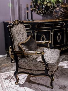 Casa Padrino Luxus Barock Sessel Silber / Schwarz / Gold 80 x 72 x H. 111 cm - Prunkvoller Wohnzimmer Sessel mit dekorativem Kissen - Edel & Prunkvoll