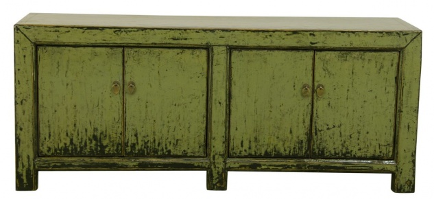 Casa Padrino Landhausstil Sideboard / Schrank Antik Stil Grün 160 x 40 x H. 67 cm - Landhausstil Kollektion