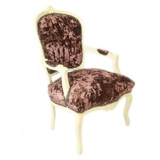 Casa Padrino Barock Salon Stuhl Braun Velour Stoff / Creme - Antik Design Möbel - Vorschau 3