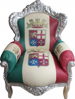 Casa Padrino Barock Sessel King Italien / Silber - Antik Stil Möbel - Unikat - Vorschau
