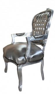 Casa Padrino Barock Salon Stuhl Silber / Silber - Vorschau 2