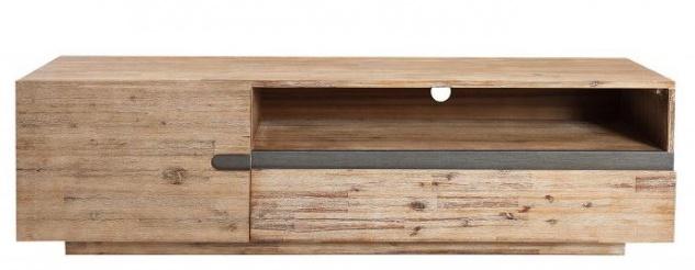 Casa Padrino Luxus Fernsehschrank Teakgrau B.170 x H.46 x T.42 - Sideboard - Kommode - Handgefertigt Echtholz!