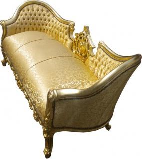 "Casa Padrino Barock Sofa Garnitur "" Vampire"" Gold Muster Satin - Limited Edition - UNIKAT - Vorschau 2"