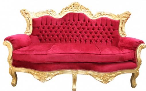 Casa Padrino Barock Wohnzimmer Set Bordeaux /Gold - 3er Sofa+2er Sofa + 1 Sessel - Vorschau 2