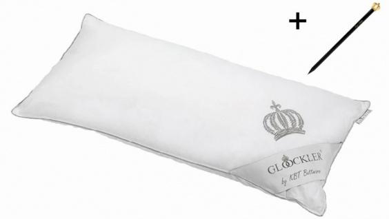 Harald Glööckler Designer Platin Kopfkissen 40 x 80 cm Weiß / Platin + Casa Padrino Luxus Barock Bleistift mit Kronendesign