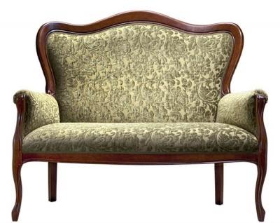 Casa Padrino Luxus Barock Sofa Grün / Dunkelbraun 124 x 74 x H. 107 cm - Barock Wohnzimmermöbel