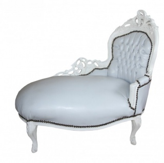 Barock Kinder Chaiselongue Weiß/ Weiß - Recamiere Barock Möbel