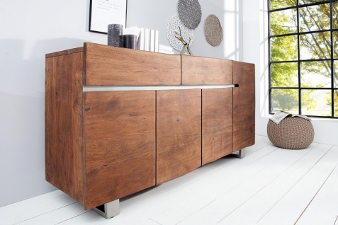 Casa Padrino Luxus Sideboard Natur / Braun B.170 x H.92 x T.45 - Fernsehschrank - Kommode - Handgefertigt aus massivem Akazienholz! - Vorschau 4
