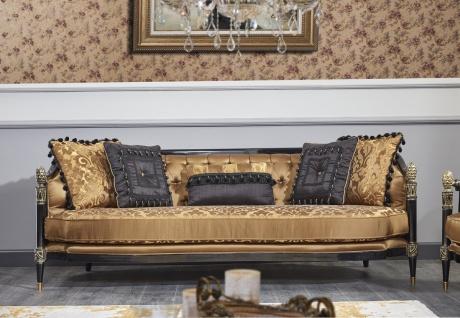 Casa Padrino Luxus Barock Wohnzimmer Set Gold / Schwarz - 1 Sofa & 2 Sessel & 1 Couchtisch & 1 Beistelltisch - Prunkvolle Barock Möbel - Luxus Qualität - Made in Italy - Vorschau 2