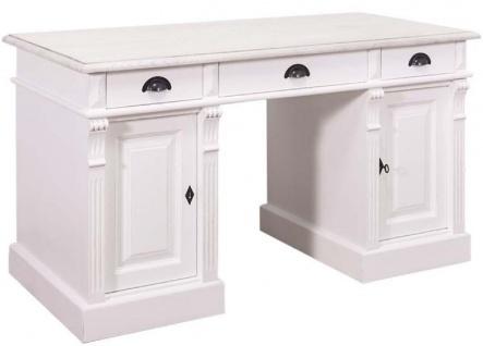 Casa Padrino Landhausstil Massivholz Schreibtisch mit 3 Schubladen und 2 Türen Weiß 140 x 70 x H. 78 cm - Landhausstil Büromöbel