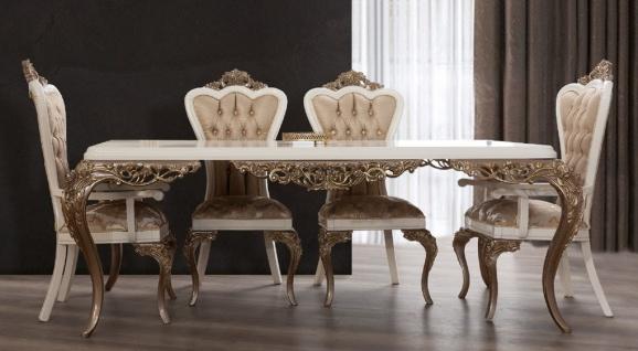 Casa Padrino Luxus Barock Esstisch Weiß / Braun / Gold - Edler Massivholz Esszimmertisch - Barock Esszimmer Möbel - Edel & Prunkvoll