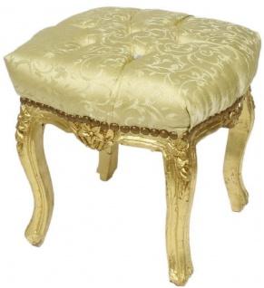 Casa Padrino Barock Fußhocker Gold Muster / Gold 45 x 40 x H. 35 cm - Handgefertigter Barock Hocker mit Glitzersteinen - Barockstil Möbel