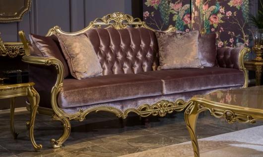 Casa Padrino Luxus Barock Samt Sofa Fliederfarben / Gold 226 x 84 x H. 109 cm - Prunkvolles Wohnzimmer Sofa mit dekorativen Kissen - Wohnzimmer Möbel im Barockstil