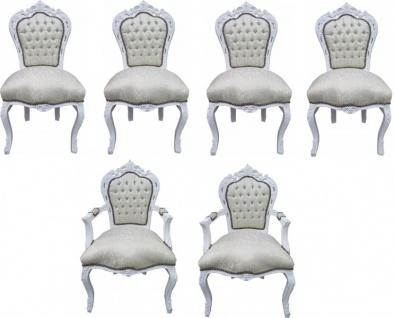 Casa Padrino Barock Esszimmer Set 4 Stühle + 2 Stühle mit Armlehnen - Möbel Antik Stil