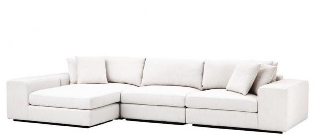 Casa Padrino Luxus Wohnzimmer Ecksofa Weiß / Schwarz 380 x 200 x H. 90 cm - Luxus Möbel