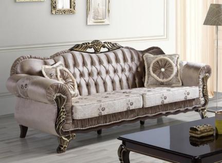 Casa Padrino Barock Sofa Braun / Beige / Schwarz / Gold 230 x 84 x H. 100 cm - Prunkvolles Wohnzimmer Sofa mit Blumenmuster - Barockstil Möbel