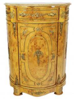 Casa Padrino Empire Kommoden Schrank mit Marmorplatte Vogelaugenahorn - Barock Möbel Kommode
