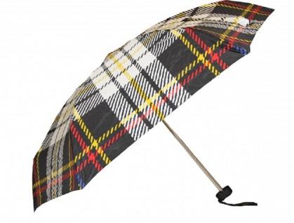 Jean Paul Gaultier Luxus Designer Regenschirm in elegantem Plaid-Muster Mod1 - Taschenschirm