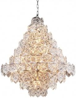 Casa Padrino Luxus Kronleuchter Silber / klares Glas Ø 80 x H. 95 cm - Hotel & Restaurant Kronleuchter - Luxus Qualität