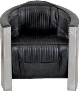 Casa Padrino Art Deco Aluminium Sessel Echtleder Schwarz - Club Sessel - Lounge Sessel - Flugzeug Flieger Möbel