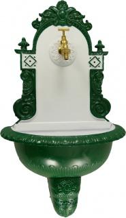 Casa Padrino Jugendstil Wandbrunnen Weiß / Grün H. 72 cm - Nostalgischer Gartendeko Brunnen mit Wasserhahn - Garten Accessoires