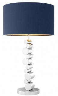 Casa Padrino Luxus Tischleuchte Silber / Blau Ø 45 x H. 77 cm - Runde Designer Lampe mit Samt Lampenschirm