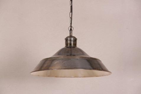 Casa Padrino Hängeleuchte Deckenleuchte Antik Stil Silber Industrial Vintage Design 60cm Durchmesser - Industrie Lampe Hänge Leuchte