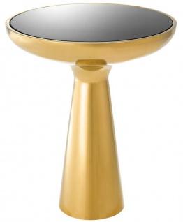 Casa Padrino Luxus Beistelltisch Gold / Schwarz Ø 50 x H. 60 cm - Runder Edelstahl Tisch mit Glasplatte
