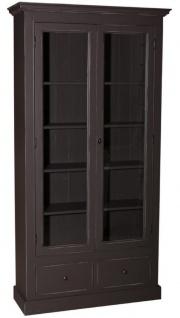 Casa Padrino Landhausstil Wohnzimmer Vitrinenschrank Antik Schwarz 109 x 39 x H. 210 cm - Wohnzimmerschrank mit 2 Glastüren und 2 Schubladen