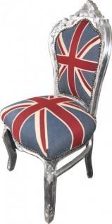 Casa Padrino Barock Esszimmer Stuhl Union Jack Silber England