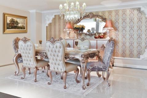 Casa Padrino Luxus Barock Esszimmer Set - 1 Esstisch & 6 Esszimmerstühle - Esszimmermöbel im Barockstil - Edel & Prunkvoll