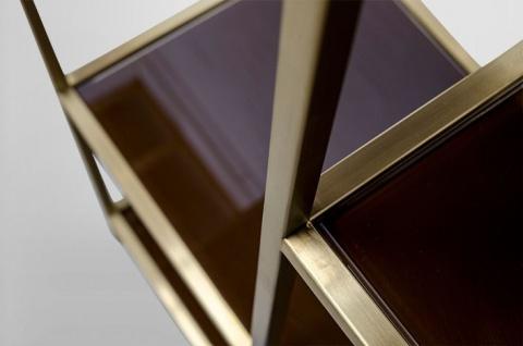 Casa Padrino Art Deco Luxus Regal Schrank Edelstahl Gold mit getönten Glasböden H210 x 98 x 35 cm - Bücherregal Regal Schrank - Jugendstil Möbel - Vorschau 4