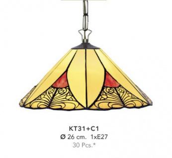 Handgefertigte Tiffany Hängeleuchte von Casa Padrino, Durchmesser 26 cm, 1-Flammig - Leuchte Lampe - wunderschöne Tiffany Deckenleuchte