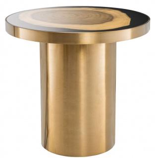 Casa Padrino Luxus Beistelltisch Messing / Schwarz / Braun Ø 55 x H. 51 cm - Runder Edelstahl Tisch mit Suar Holz Baumscheibe - Luxus Möbel