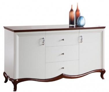 Casa Padrino Luxus Art Deco Kommode mit 2 Türen und 3 Schubladen Weiß / Dunkelbraun 164, 2 x 46, 5 x H. 90, 2 cm - Luxus Qualität