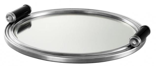 Casa Padrino Designer Tablett mit 2 Griffen silber Durchmesser 34 x H. 3 cm - Luxus Qualität