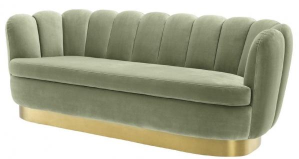 Casa Padrino Luxus Samt Sofa Pistaziengrün / Messingfarben 225 x 90 x H. 80 cm - Wohnzimmer Sofa - Luxus Qualität
