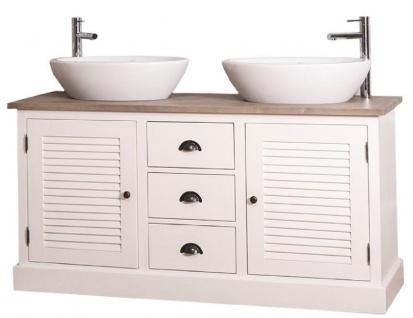 Casa Padrino Landhausstil Doppel-Waschtisch mit 2 Türen und 3 Schubladen Creme / Naturfarben 150 x 51 x H. 75 cm - Badezimmermöbel im Landhausstil - Vorschau 3