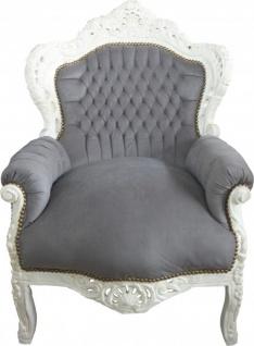 Casa Padrino Barock Sessel King Grau / Creme 85 x 85 x H. 120 cm - Antikstil Möbel