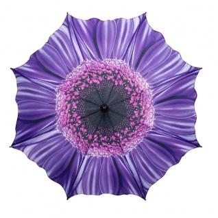 MySchirm Designer Regenschirm mit Blumenmotiv in lila - Eleganter Taschenschirm - Luxus Design - Taschenschirm - Auf-Automatik - Vorschau 2