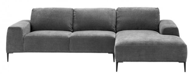Casa Padrino Luxus Lounge Ecksofa Grau / Schwarz 285 x 164 x H. 80 cm - Wohnzimmer Sofa