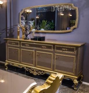 Casa Padrino Luxus Barock Möbel Set Sideboard mit Spiegel Grau / Gold - Prunkvoller Massivholz Schrank mit Wandspiegel - Edle Möbel im Barockstil - Luxus Qualität