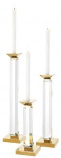 Casa Padrino Luxus Kerzenhalter 3er Set Gold - Luxus Kristallglas Accessoires