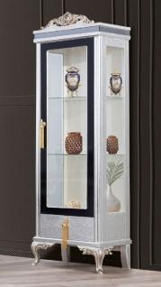 Casa Padrino Luxus Barock Vitrine Silber / Schwarz / Gold - Handgefertigter Massivholz Vitrinenschrank - Barock Wohnzimmer Möbel