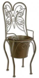 Casa Padrino Jugendstil Blumentopf Braun 24, 1 x 25, 5 x H. 59 cm - Metall Planzentopf im Gartenstuhl Design - Garten & Terrassen Deko