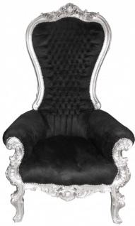 Casa Padrino Barock Thron Sessel Majestic Mod1 Schwarz/Silber - Riesensessel -Thron Stuhl Tron