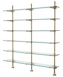Casa Padrino Designer Doppel-Wandregal Antik Messing 220 x 41 x H. 240 cm - Luxus Wohnzimmer Möbel