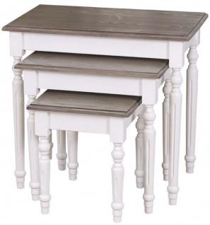 Casa Padrino Landhausstil Beistelltisch 3er Set Weiß / Grau - Landhausstil Massivholz Möbel